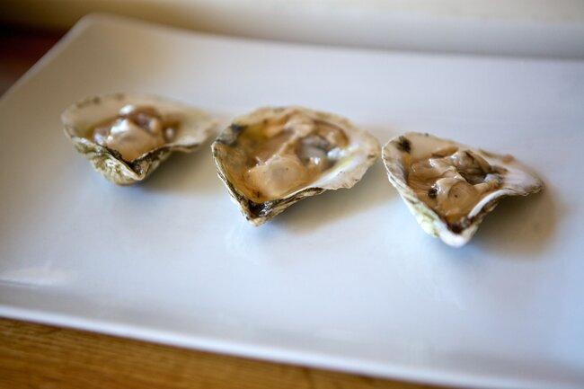 Three fresh oysters