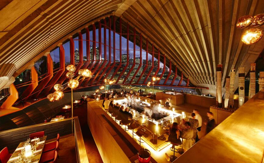 The interior of the bennelong restaurant in Sydney