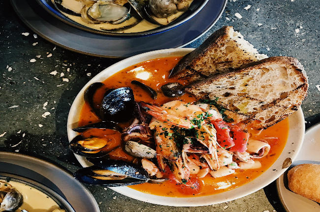 seafood soup with prawns and bread