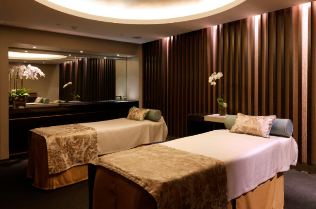 two massage beds in a beautiful massage parlour
