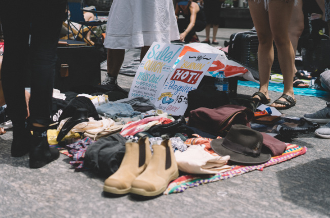 an assortment of clothing and footwear